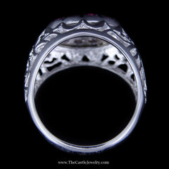 Ruby and Diamond Kentucky Cluster Ring w/ Filigree in 10K White Gold - The Castle Jewelry  - 3