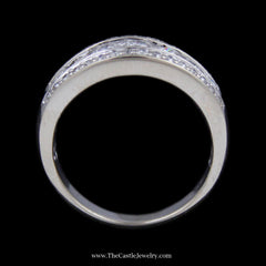 1cttw Channel Set Round Diamond Band w/ Prong Set Round Diamond Edges in 14k White Gold