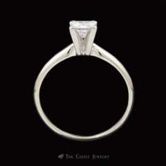 Princess Cut 1/2ct Diamond Solitaire Engagement Ring w/ 4 Prong Mounting Crafted in 14k White Gold