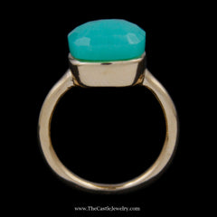 Unique Squared Fantasy Cut Chrysoprase Gemstone Ring w/ Polished Basket Mounting in 18k YG