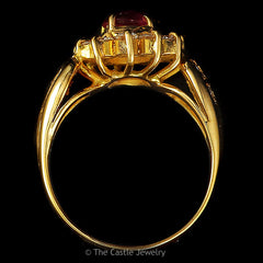 Synthetic Ruby .75 CTTW Diamond Bezel Side Accented 14K Yellow Gold Ring - The Castle Jewelry  - 3