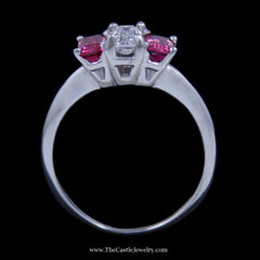 Stunning 3 Stone Ring w/ ½ Carat Emerald Cut Diamond (VS2/F) & Pink Tourmaline Sides 14K WG - The Castle Jewelry  - 3
