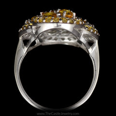 Large Citrine Figure 8 Infinity Cocktail Ring with Diamond Accents in 14K White Gold - The Castle Jewelry  - 3