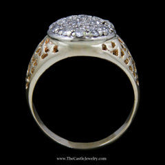 Men's Round Brilliant Cut .50cttw Diamond Kentucky Cluster Ring in 14k Yellow Gold - The Castle Jewelry  - 3