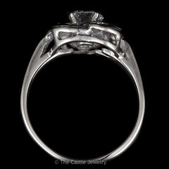 Vintage Loop and Swirl Design Diamond Ring .91cttw Crafted in 14K White Gold - The Castle Jewelry  - 3