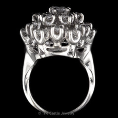 Estate 19 Diamond 2.50cttw Round Cluster Ring in Solid 14K White Gold - The Castle Jewelry  - 3