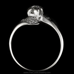 Vintage Round 1/2cttw Diamond Ring with Diamond Bypass in 14K White Gold - The Castle Jewelry  - 3