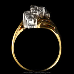 Round Diamond 1cttw Waterfall Cluster Bypass Mounting in 14K Yellow Gold - The Castle Jewelry  - 3