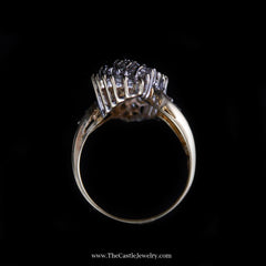 Stunning 2cttw Diamond Waterfall Cluster Ring in 10K Yellow Gold - The Castle Jewelry  - 3