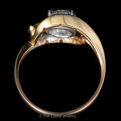 Antique 3 Stone Ring .50ct Round Center with Diamond Bypass Design in 14K Yellow Gold - The Castle Jewelry  - 3