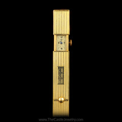 Antique Cartier Lipstick Watch Pin Circa 1930 in 14K Yellow Gold - The Castle Jewelry  - 4
