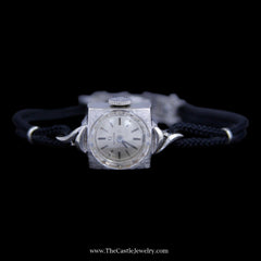 Beautiful Antique Style Omega Watch in White Gold Case with Black Cord Band - The Castle Jewelry  - 4
