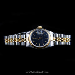 Ladies Rolex Datejust 18K & Stainless Jubilee w/ Black Dial & 2 Year Warranty - The Castle Jewelry  - 4
