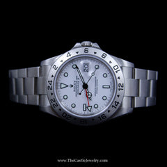 All Stainless Rolex Explorer II with White Dial & 24 Hour Bezel 16570 w/ 2 Year Warranty - The Castle Jewelry  - 4