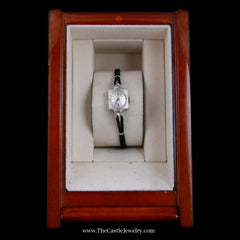 Beautiful Antique Style Omega Watch in White Gold Case with Black Cord Band - The Castle Jewelry  - 8