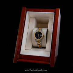 Ladies Rolex Datejust 18K & Stainless Jubilee w/ Black Dial & 2 Year Warranty - The Castle Jewelry  - 8