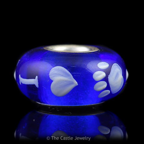 Collegiate University of Kentucky Fenton Art Glass Bead I Love Wildcat Paw