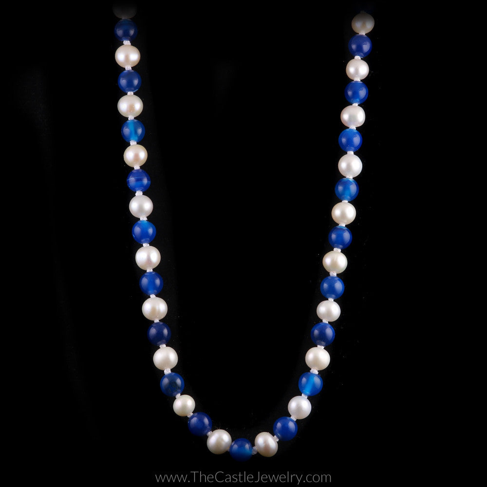 "University of Kentucky Wildcats Blue Agate and White Pearl 18"" Necklace - The Castle Jewelry  - 1"