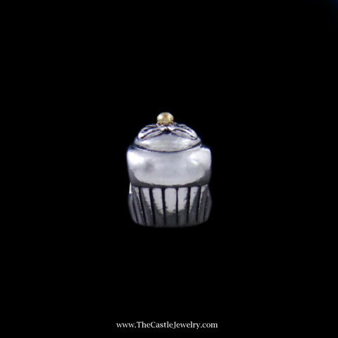 Pandora Cupcake Bead in Sterling Silver w/ 14K Yellow Gold Accent