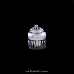 Pandora Cupcake Bead in Sterling Silver w/ 14K Yellow Gold Accent - The Castle Jewelry  - 1