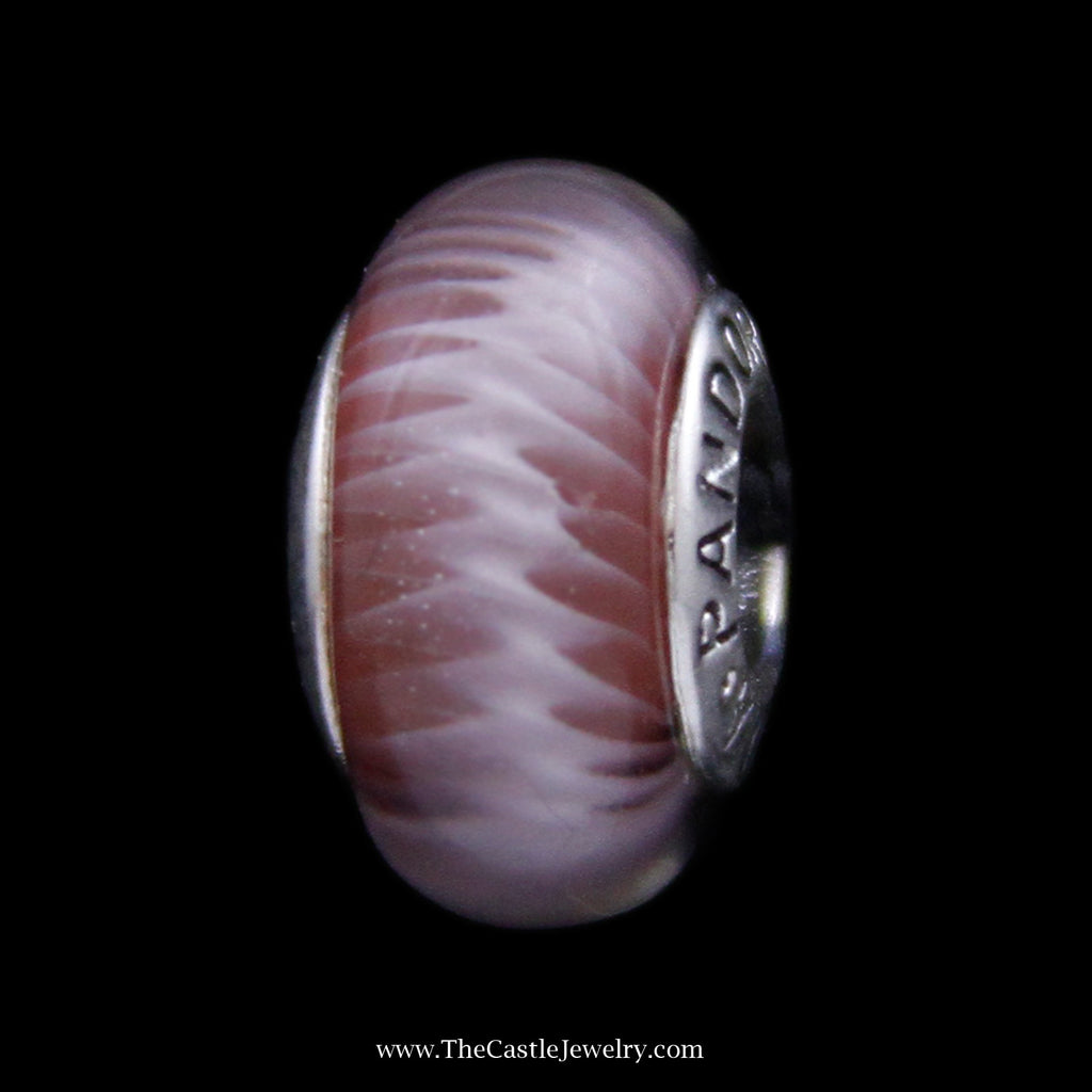 Pandora Pink Zig Zag Murano Glass Bead in Sterling Silver