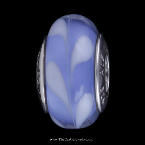 Retired Blue and White Murano Glass Pandora Bead in Sterling Silver