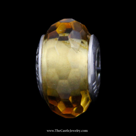 "Authentic Pandora ""Fascinating Ochre"" Glass Bead in Sterling Silver"