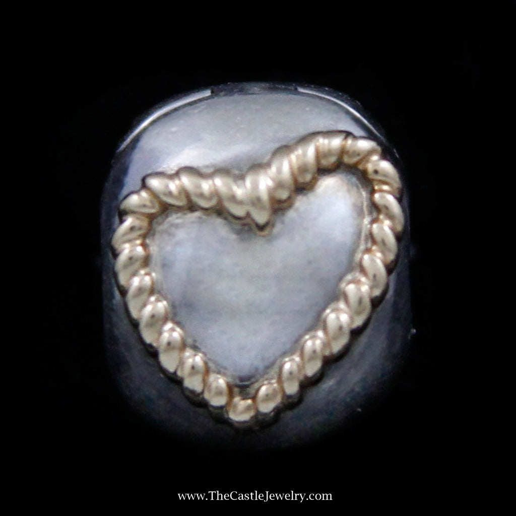 Discontinued Pandora Golden Braided Heart Bead Crafted in Sterling Silver w/ 14k Yellow Gold Accents - The Castle Jewelry  - 1