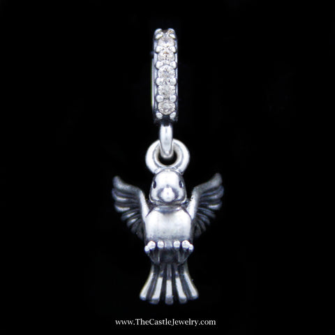 "Discontinued Authentic Pandora ""Dove of Peace"" Charm w/ CZs in Sterling Silver"
