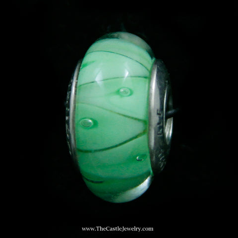 "Authentic Pandora ""Green Looking Glass"" Bead in Sterling Silver"