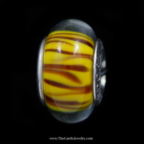 "Discontinued Authentic Pandora ""Bengal Tiger"" Glass Bead in Sterling Silver"