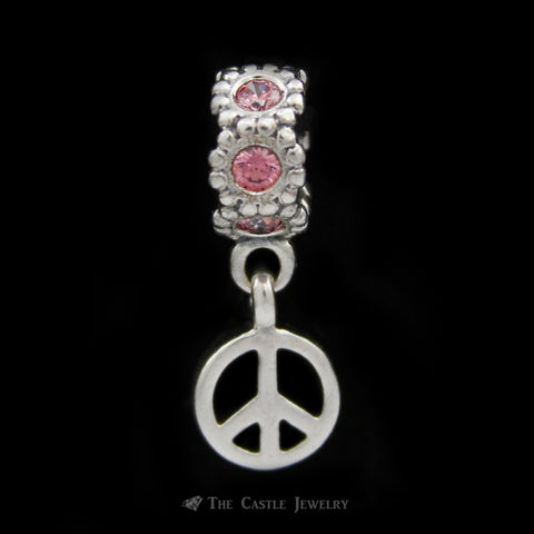 Discontinued Authentic Fancy Pink CZ Peace Sign Pandora Charm Crafted in Sterling Silver