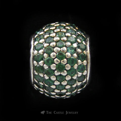 Authentic Pave` Lights Pandora Charm w/ Dark Green CZs Crafted in Sterling Silver