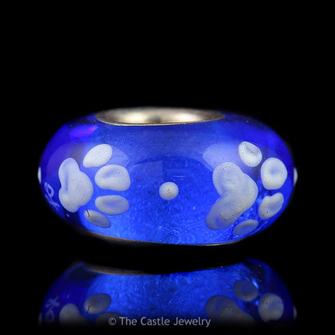 Collegiate University of Kentucky Fenton Art Glass Bead with 4 Wildcat Paws