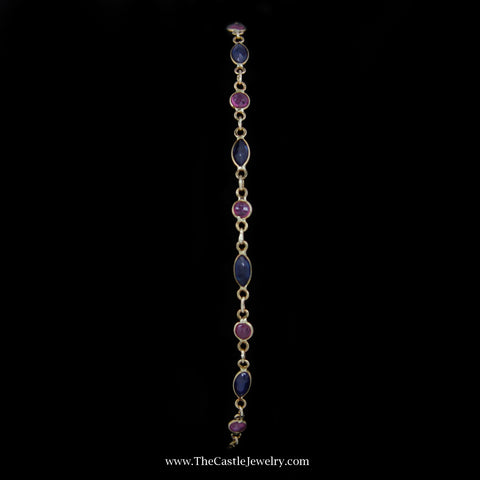 "Dainty 7.5"" Round Ruby & Marquise Sapphire Bracelet w/ Lobster Clasp in 14k Yellow Gold"