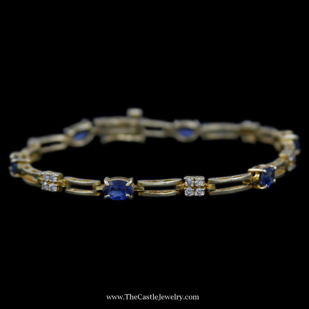"Lovely 7"" Oval Sapphire Bracelet w/  Diamond Links w/ Safety Clasp in Yellow Gold - The Castle Jewelry  - 1"