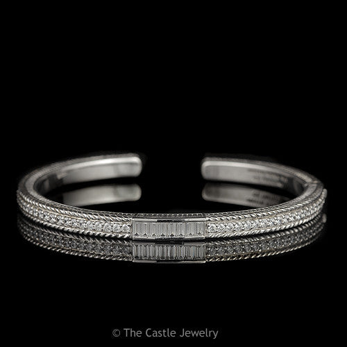 Authentic Designer Judith Ripka Sterling Silver and Cubic Zirconia Bangle Bracelet - The Castle Jewelry  - 1