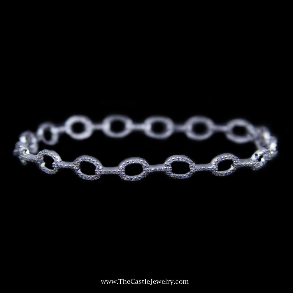 Beautiful .50cttw Round Diamond Oval Link Bracelet in 14k White Gold - The Castle Jewelry  - 1
