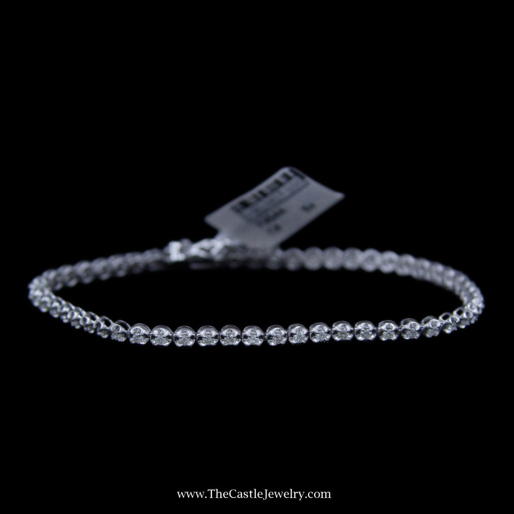 Beautiful Round Brilliant Cut 1cttw Tennis Bracelet in 10K White Gold - The Castle Jewelry  - 1