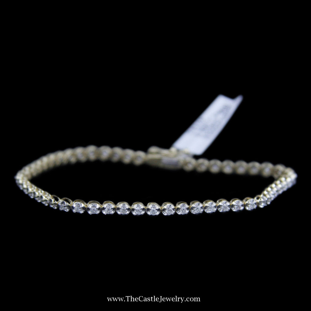 Beautiful Round Brilliant Cut 1cttw Tennis Bracelet in 10K Yellow Gold - The Castle Jewelry  - 1