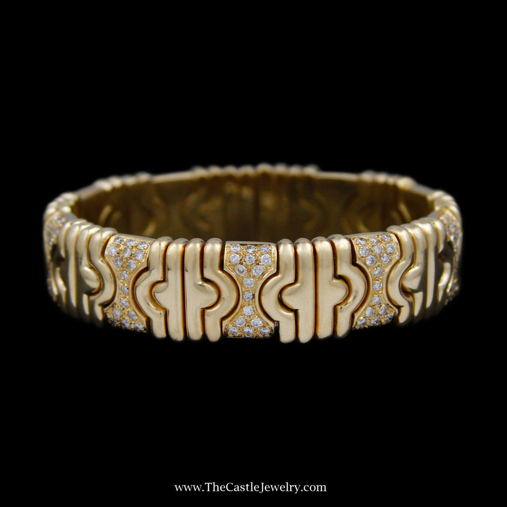 Flexible Cuff Diamond Bangle 1.50cttw w/ Ridged Link Design Crafted in 18k Yellow Gold