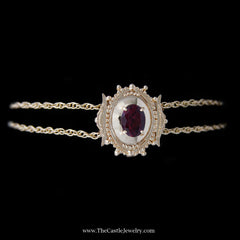 "Oval Rhodolite Garnet in Beaded Antique Style Mounting on 7"" Double Chain w/ Filigree Box Clasp YG - The Castle Jewelry  - 1"