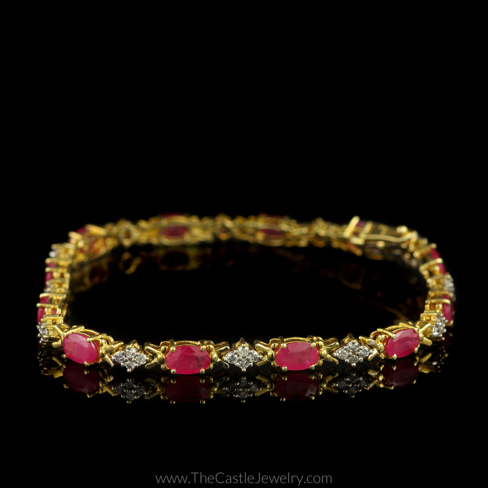 Ruby & 1cttw Diamond Tennis Bracelet 7.5 Inches Long in 10K Yellow Gold - The Castle Jewelry  - 1