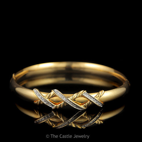 Polished Bangle with Diamond and Rope Triple X Design in 14K Yellow Gold - The Castle Jewelry  - 1