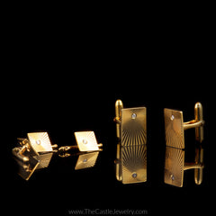 Diamond Cuff Links and Shirt Buttons in 14K Yellow Gold - The Castle Jewelry  - 1