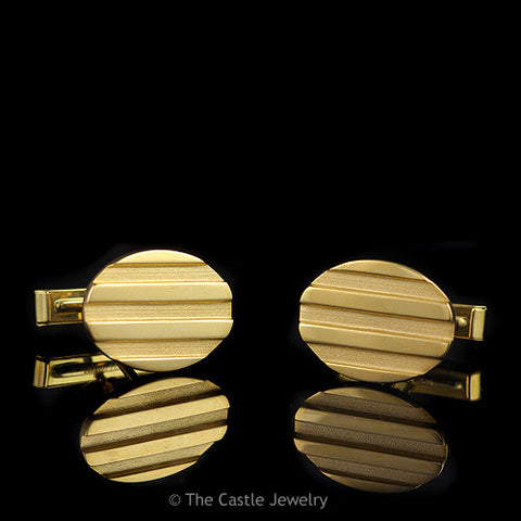 Tiffany & Co. Oval Shaped Vintage Cuff Links with Brushed & Polished Finish
