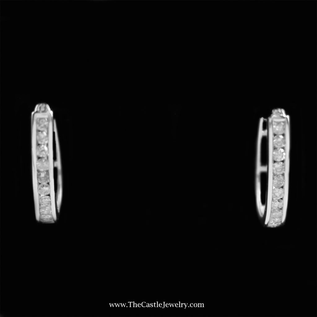 SPECIAL! Channel Set 1cttw Round Diamond Oval Hoops in 10K White Gold - The Castle Jewelry  - 1