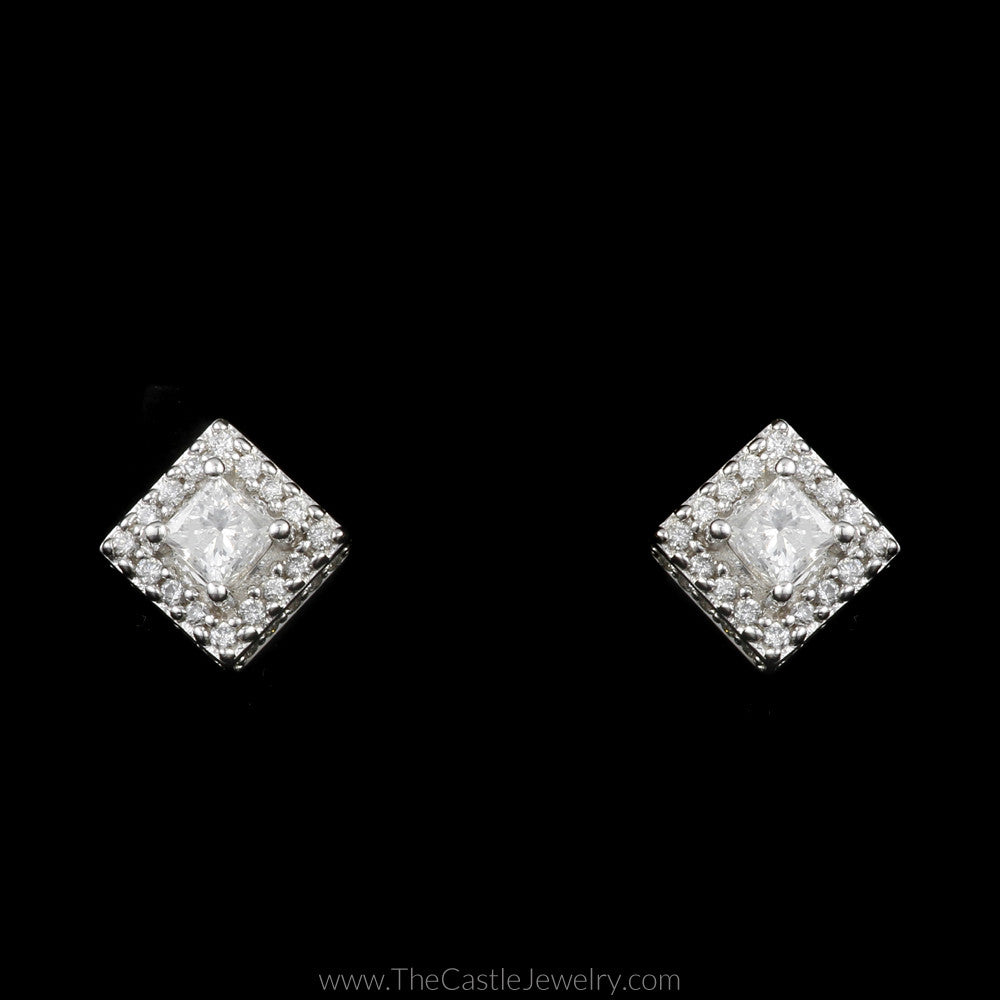Princess Cut Diamond Stud Earrings with Round Diamond Halo in 14K White - The Castle Jewelry  - 1