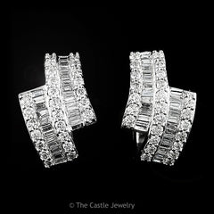 Channel Set Baguette & Prong Set Round Diamond Hoops 1 cttw 14K White Gold - The Castle Jewelry  - 1