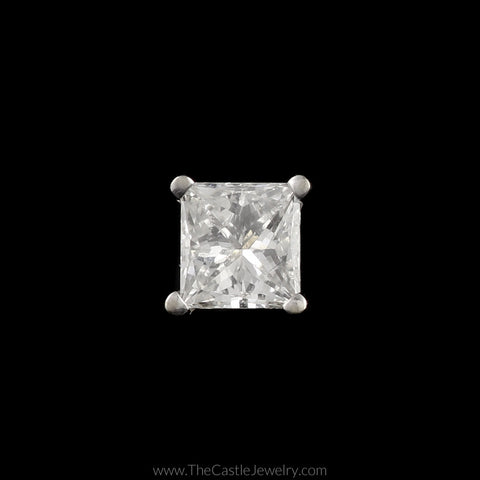 Single Princess Cut Diamond Stud Earring in 14K White Gold